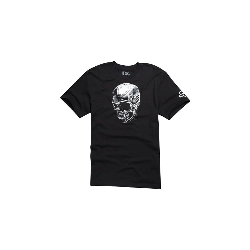 Fox Racing Skull Metal Premium Mens Short Sleeve Sports Wear Shirt w/ Free B&F Heart Sticker Bundle   Black / X Large