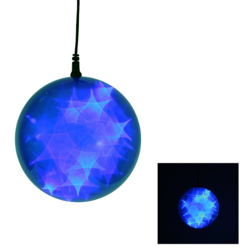 "6"" Led Lighted Invisilite Holographic Star Blue Christmas Hanging Ball Sphere"