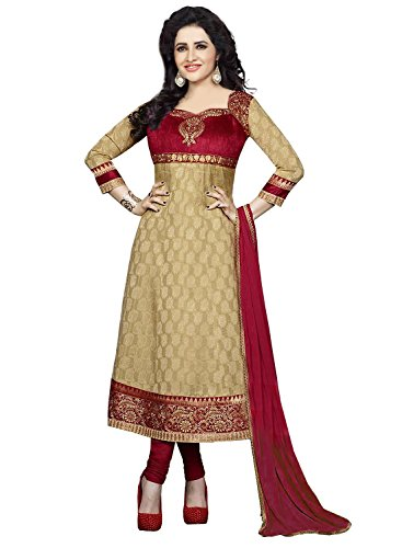 Divyaemporio Womens Cotton Resham Anarkali Dress Material (De-3976 _Beige _Free Size)