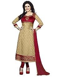 Divyaemporio Womens Faux Crepe Anarkali Dress Material (De-3976 _Beige _Free Size)