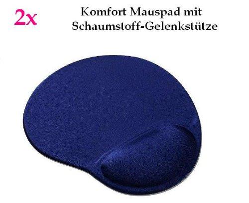 smartec24® 2x Komfortmauspad in blau. Mauspad aus Schaumstoff mit bequemer Schaumstoff-Gelenkstütze (Handballenauflage)