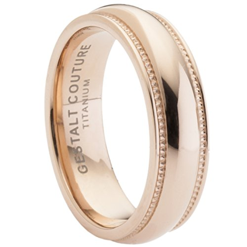 Rose Gold Titanium Wedding Band By Gestaltcouture®. 6Mm Width. Comfort Fit. Rti6Rgge12