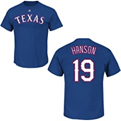 Tommy Hanson Texas Rangers Royal Player T-Shirt by Majestic by Majestic