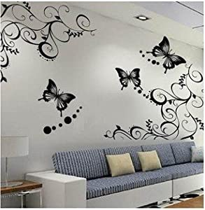 Butterfly flower wall decal sticker removable for Home decorations amazon