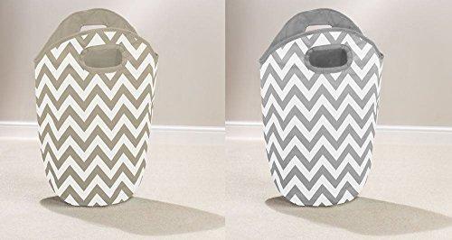 grey-or-brown-chevron-pattern-home-laundry-hamper-foldable-bag-washing-basket