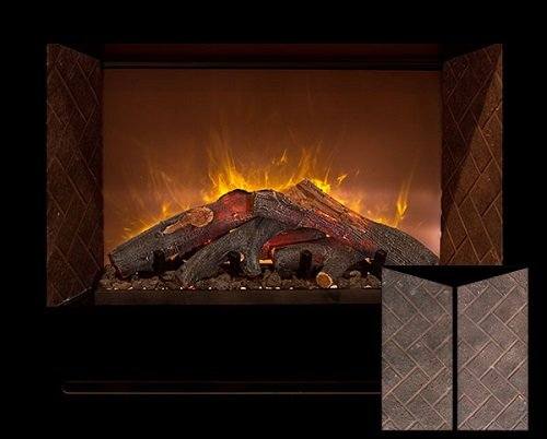 "Modern Flames Hf42Cbi Built In Red Herringbone Brick Panels 42"" Fireplace /W Log Burners"