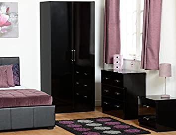 Charisma Bedroom Set in Black Gloss