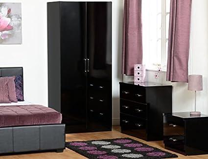 Charisma Bedroom Set in Black Gloss