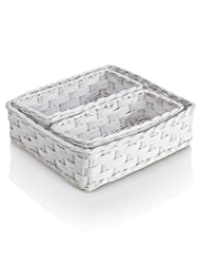 3 Piece White Rattan Storage Basket Set