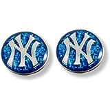 MLB New York Yankees Glitter Post Earrings
