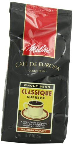 Melitta Café de Europa Gourmet Coffee, Classique Whole Bean, Medium Roast, 9 Ounce (Pack of 3)