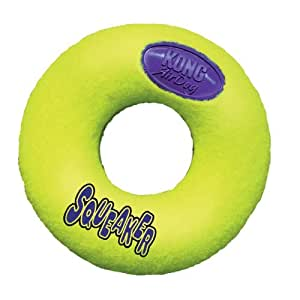 KONG Air Dog Squeaker Donut Dog Toy, Small, Yellow