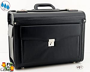 Pilotentasche grip handle, wheels, Elegant Black Pilot Suitcase Business & Trunks, leather, leather, leather bag, spacious compartments, with generous Visagistenkoffer Wheeled Holdall / Weekend Bag / Trolley, Notenkoffer, Musikkoffer for Hand Luggage Suit
