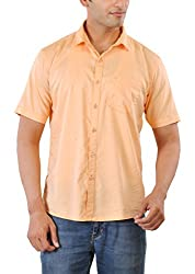 CREEDS Men's Casual Shirt (Oxford Orange_Xl, Orange, Xl)