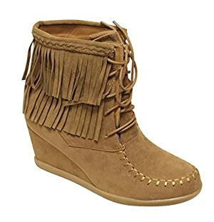 Forever Peggy-85 Women's moccasin lace up fringe braid wedge heel suede ankle boots Tan 8.5