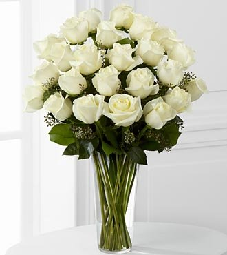 FTD Flowers White Rose Bouquet -24 Stems – Delivered by a Local Florist