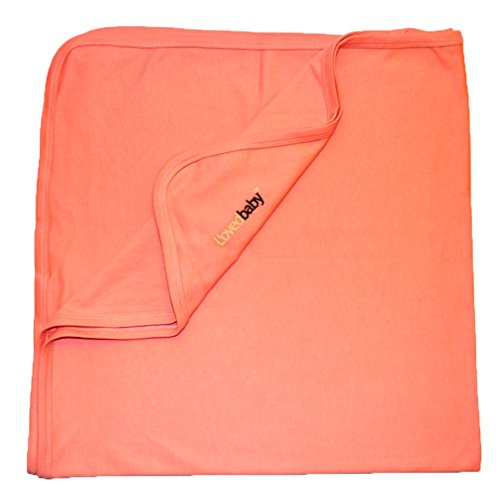 L'Ovedbaby Unisex-Baby Newborn Organic Swaddling Blanket, Coral, One Size front-1015266