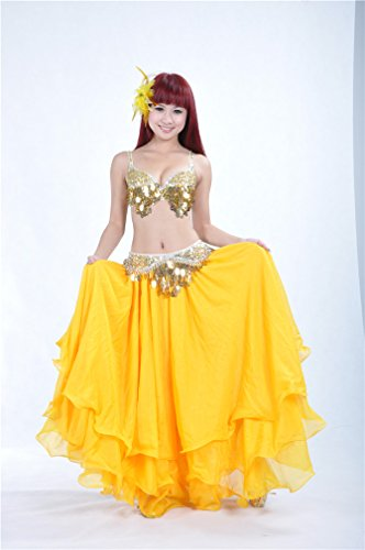 Dreamspell Yellow Shining Color Long Skirt Big Curling for Dancer