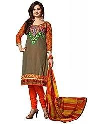 Multi Cotton Resham With Patch Patti Dress Material - B00U2GI4CS