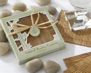 Natural Bamboo Eco-Friendly Coaster Favors (Four Coasters per Favor!) - Set of 25