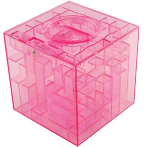 NEW MONEY MAZE COIN BOX JAR PUZZLE GIFT PRIZE SAVING BANK in Pink