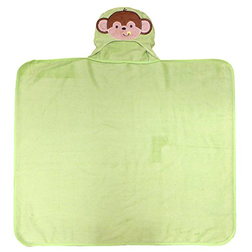 Neat Solutions Happy Monkey 3D Character Applique Woven Terry Hooded Bath Wrap, Green/Yellow