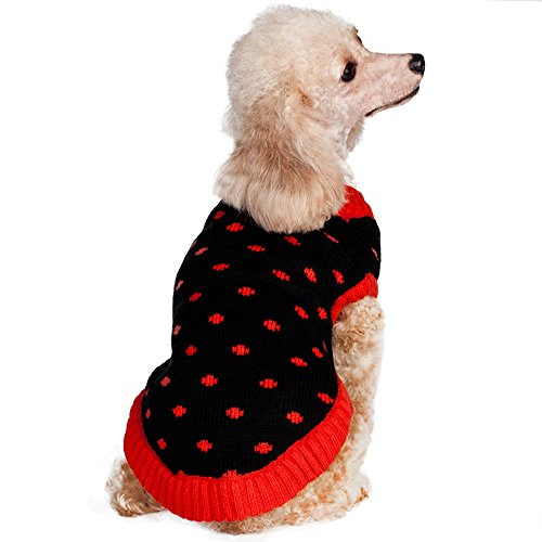 """Blueberry Pet Polka Dot Designer Small Dog Sweater In Black And Red 10"""" Back Length, Small - Dog Apparel Clothes Outfits front-279358"""