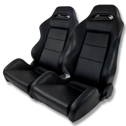 Universal Genuine Leather Reclinable Sport Racing Seats (Pair of Black)