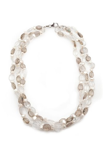 Triple-strand White Freshwater Pearl Necklace with Light Grey and Clear Glass Beads