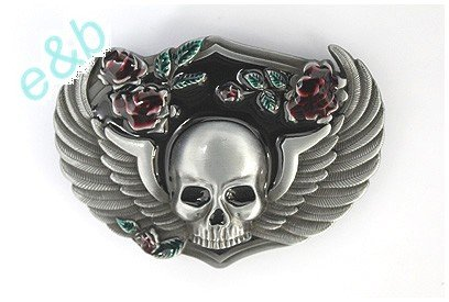 Brand:e&b Western Skull with Wings and Roses Belt Buckle for Biker Sk-037