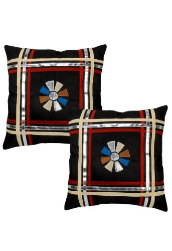 Handmade Silk Patchwork Pillow Cushion Cover 16 By 16 Inches Set Of 2 Pcs front-4125