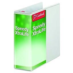 Cardinal Speedy XtraLife Non-Stick Locking Slant-D Ring Binder, 4-Inch, White (59140)