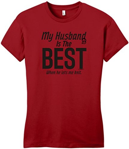 My Husband Is The Best When He Lets Me Knit Juniors T-Shirt Small Classic Red
