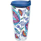 Tervis Molly Z Bohemian Flower Wrap Tumbler with Blue Lid, 24-Ounce