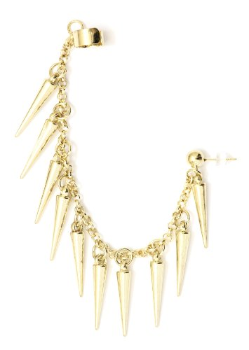 Spikes Stud Earring Ear Cuff Metal Wrap Gold Tone Chandelier Earring Fashion Jewelry