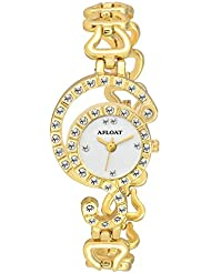 AFLOAT Analog Crystal Studded White Dial Stainless Steel Golden Wrist Watch For_Women, Girls