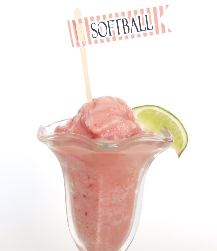"""""""Softball"""" Treat Banner Cupcake Topper, Coral (Set Of 12) - Dress Appetizer, Cake, Cupcake Bite, Pie front-593906"""