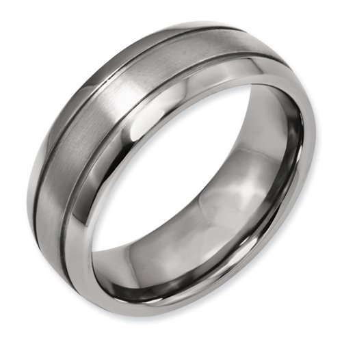 Titanium Grooved 8mm Brushed and Polished Band Size 6.5