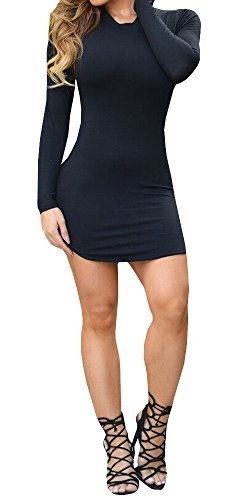 Ermonn Women's Sexy Bodycon Bandage Party Short Dress Black, Small (Long Sleeve Mini Dress Sexy compare prices)