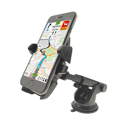 Car Phone Mount, Easy One Touch 2nd Mostfeel Universal Windshield Auto-Lock Car Phone Holder Dashboard Car Mount for iPhone 6/6s/6 plus,Samsung Galaxy S7/S7 Edge/S6 Edge,Note 5,LG,HTC-Black