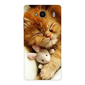 Cute Sleeping Cat with Bunny Multicolor Back Case Cover for Redmi 2s