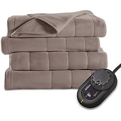 Sunbeam Quilted Fleece Heated Blanket, Twin, Mushroom