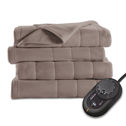 Best Prices! Sunbeam Quilted Fleece Heated Blanket, King, Mushroom