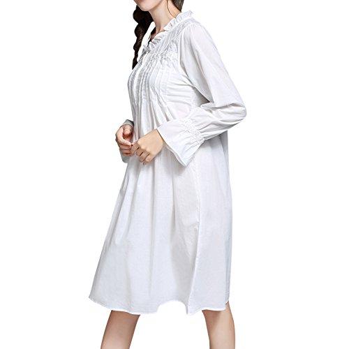 DoreKim Dress delle retro donne a maniche lunghe bianca camicia da notte di cotone Sleepwear pigiama bianco DK3722 (S)