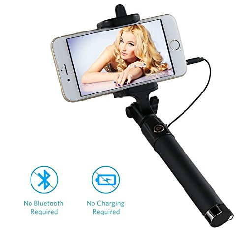 Balichun Wired Selfie Stick with Rotatable Extendable Clamp for Smartphones - Black (Picture Taking compare prices)