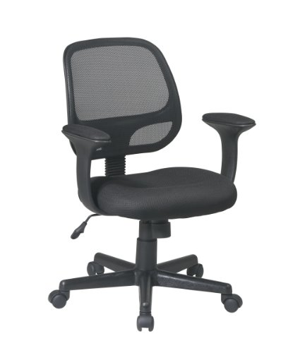 Office Star Screen Back Task Chair with T Arms with Mesh Fabric Pads