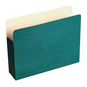 """Wilson Jones Colorlife Recycled (50%) Expanding File Pockets, Letter Size, 5-1/4"""" Expansion, Green, 10/box, WCC66G"""