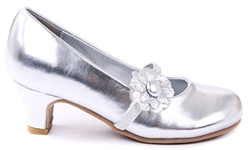 Jjf Shoes Kids Party Silver Formal Flower Girl Mary Jane Dress Low Heel Pumps-10