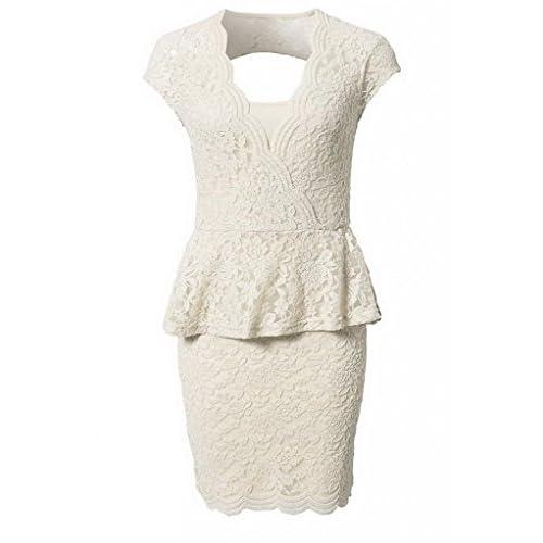 (ラボーグ)La Vogue ボディコン レディース ワンピースドレス キャバ 二次会 タイト着痩せVネック フリルレースドレス ミニ丈ワンピース M ベージュ