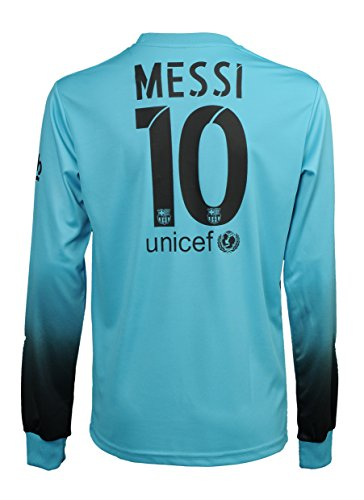 new products 27ce2 e605c BBVA 2015/2016 Barcelona Lionel Messi #10 Away Turquoise Football Soccer  Long Sleeve Jersey & Shorts & Socks Youth Sizes (L - 152 (Ages 8-9))